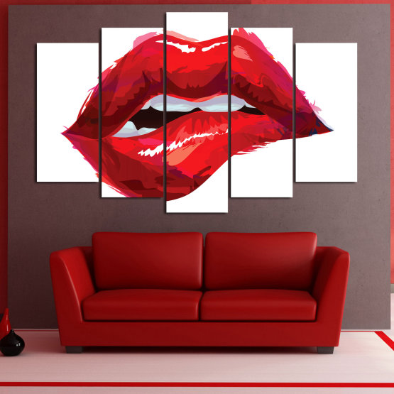 Canvas prints & wall decorative panels - 5 pieces №0772 » Red, Pink, White » Art, Love, Colors Form #1