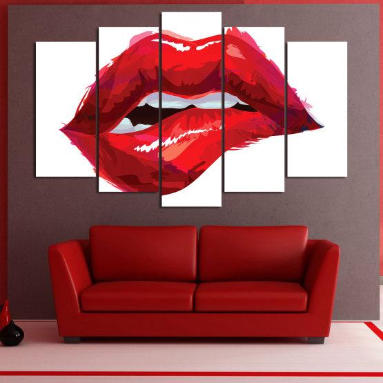 Декоративни панели и картини от канава - от 5 части №0772 » Червен, Розов, Бял » Изкуство, Обичам, Цветове Form #1