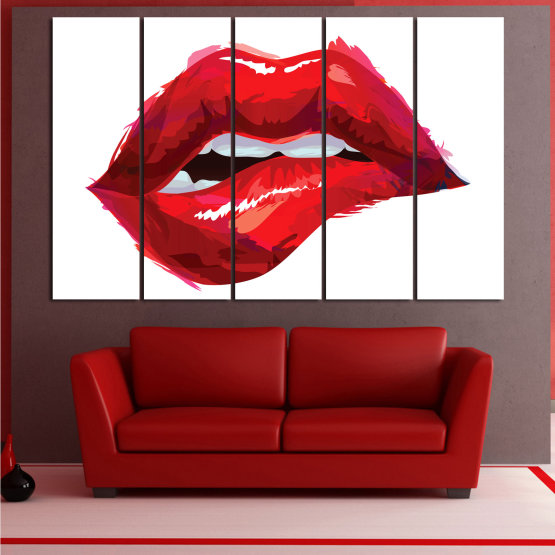Canvas prints & wall decorative panels - 5 pieces №0772 » Red, Pink, White » Art, Love, Colors Form #2