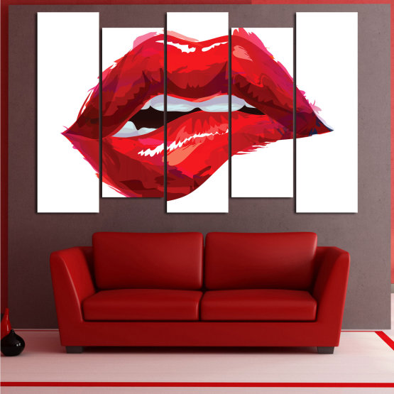 Canvas prints & wall decorative panels - 5 pieces №0772 » Red, Pink, White » Art, Love, Colors Form #3