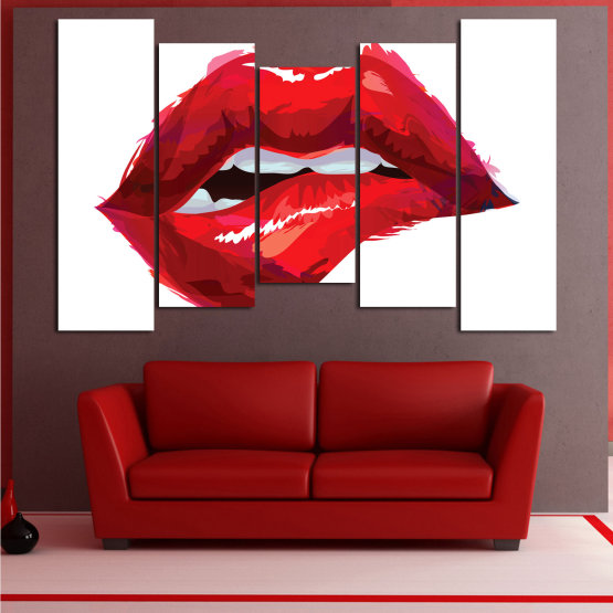 Canvas prints & wall decorative panels - 5 pieces №0772 » Red, Pink, White » Art, Love, Colors Form #4