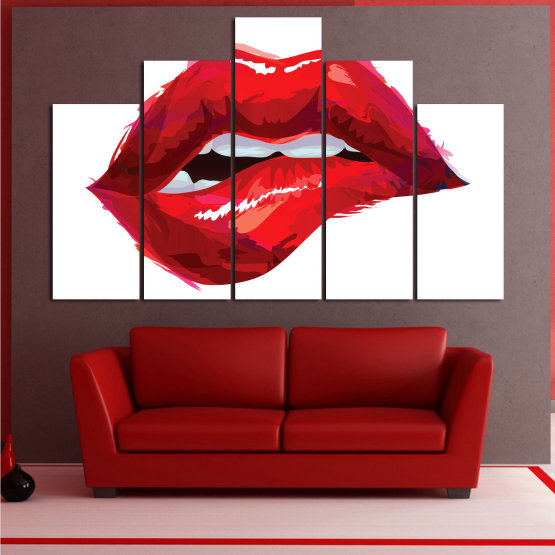 Canvas prints & wall decorative panels - 5 pieces №0772 » Red, Pink, White » Art, Love, Colors Form #5