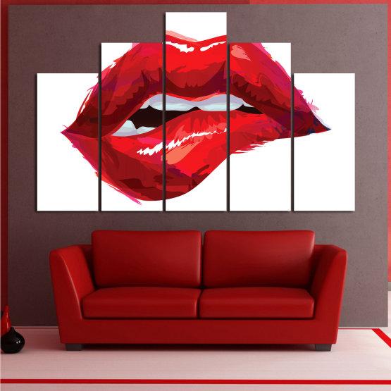 Декоративни панели и картини от канава - от 5 части №0772 » Червен, Розов, Бял » Изкуство, Обичам, Цветове Form #5