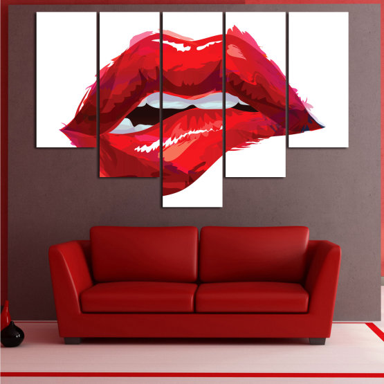Canvas prints & wall decorative panels - 5 pieces №0772 » Red, Pink, White » Art, Love, Colors Form #6