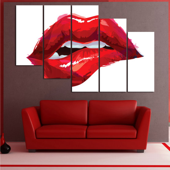 Canvas prints & wall decorative panels - 5 pieces №0772 » Red, Pink, White » Art, Love, Colors Form #7