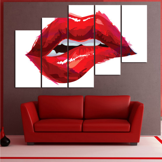Canvas prints & wall decorative panels - 5 pieces №0772 » Red, Pink, White » Art, Love, Colors Form #8