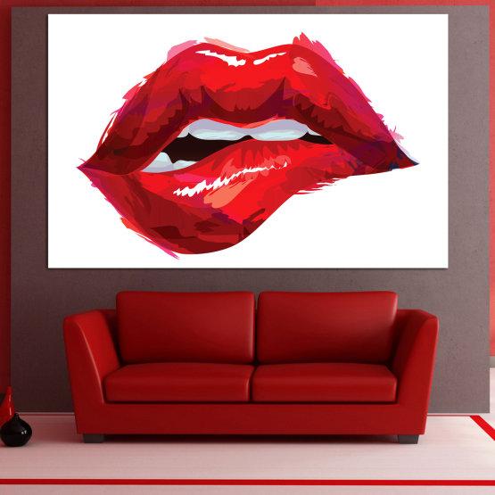 Εκτύπωση σε καμβά και διακοσμητικά πάνελ τοίχου - 1 τεμάχιο №0772 » Κόκκινος, Ροζ, Άσπρο » Τέχνη, Αγάπη, Χρωματιστά Form #1