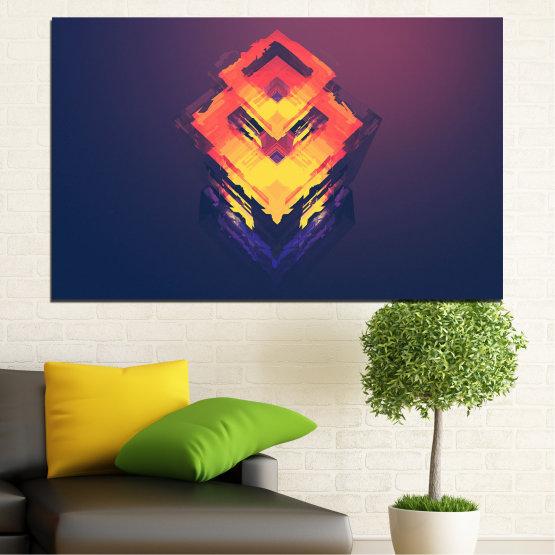 Canvas prints & wall decorative panels - 1 piece №0779 » Pink, Purple, Yellow, Orange, Dark grey » Abstraction, 3d, Decoration, Art, Modern, Artwork, Graphic, Color, Design, Creative Form #1