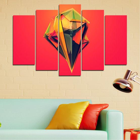Декоративни панели и картини от канава - от 5 части №0780 » Червен, Жълт, Оранжев, Черен, Тъмно сив » Абстракция, 3d, Украса, Отражение, Изкуство, Светлина, Дизайн Form #1