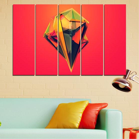 Декоративни панели и картини от канава - от 5 части №0780 » Червен, Жълт, Оранжев, Черен, Тъмно сив » Абстракция, 3d, Украса, Отражение, Изкуство, Светлина, Дизайн Form #2