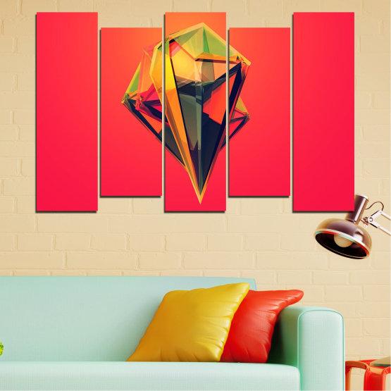 Декоративни панели и картини от канава - от 5 части №0780 » Червен, Жълт, Оранжев, Черен, Тъмно сив » Абстракция, 3d, Украса, Отражение, Изкуство, Светлина, Дизайн Form #3