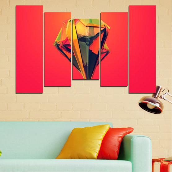 Декоративни панели и картини от канава - от 5 части №0780 » Червен, Жълт, Оранжев, Черен, Тъмно сив » Абстракция, 3d, Украса, Отражение, Изкуство, Светлина, Дизайн Form #4