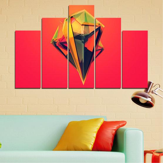 Декоративни панели и картини от канава - от 5 части №0780 » Червен, Жълт, Оранжев, Черен, Тъмно сив » Абстракция, 3d, Украса, Отражение, Изкуство, Светлина, Дизайн Form #5