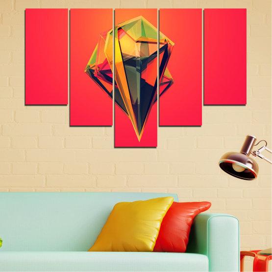Декоративни панели и картини от канава - от 5 части №0780 » Червен, Жълт, Оранжев, Черен, Тъмно сив » Абстракция, 3d, Украса, Отражение, Изкуство, Светлина, Дизайн Form #6