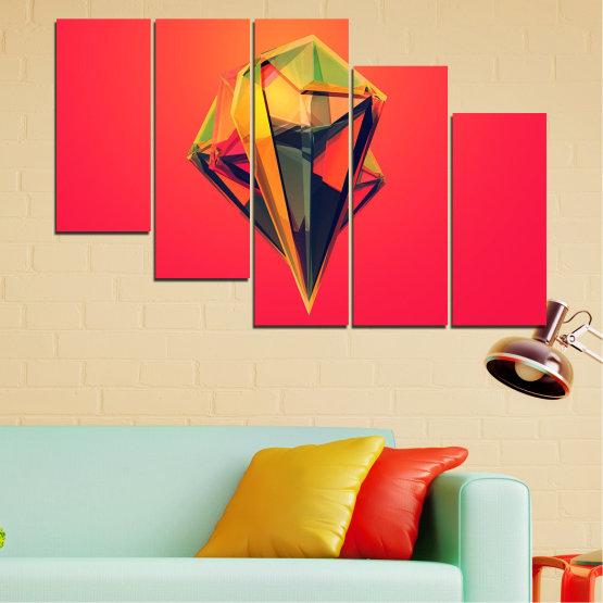 Декоративни панели и картини от канава - от 5 части №0780 » Червен, Жълт, Оранжев, Черен, Тъмно сив » Абстракция, 3d, Украса, Отражение, Изкуство, Светлина, Дизайн Form #7