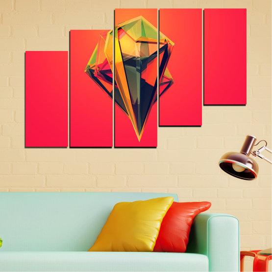 Декоративни панели и картини от канава - от 5 части №0780 » Червен, Жълт, Оранжев, Черен, Тъмно сив » Абстракция, 3d, Украса, Отражение, Изкуство, Светлина, Дизайн Form #8
