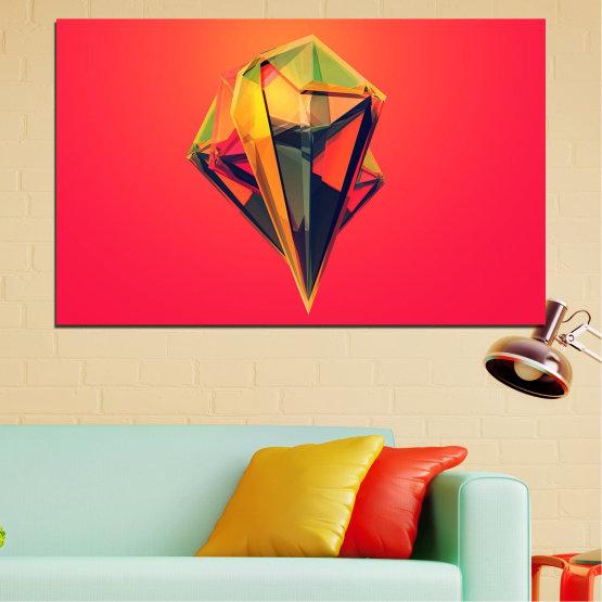 Canvas prints & wall decorative panels - 1 piece №0780 » Red, Yellow, Orange, Black, Dark grey » Abstraction, 3d, Decoration, Reflection, Art, Light, Design Form #1