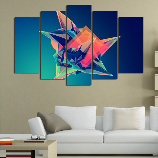 Canvas prints & wall decorative panels - 5 pieces №0778 » Pink, Purple, Blue, Turquoise, Black, Dark grey » Abstraction, 3d, Modern, Light, Color, Design, Shape, Glow, Decorative Form #1