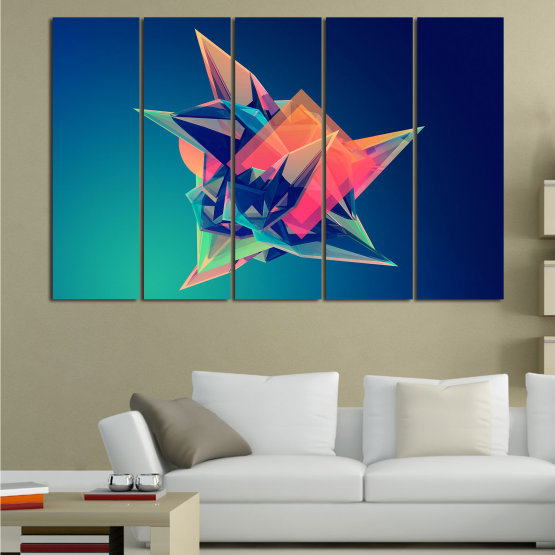 Canvas prints & wall decorative panels - 5 pieces №0778 » Pink, Purple, Blue, Turquoise, Black, Dark grey » Abstraction, 3d, Modern, Light, Color, Design, Shape, Glow, Decorative Form #2