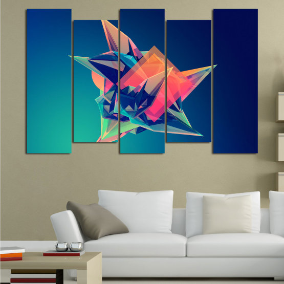 Canvas prints & wall decorative panels - 5 pieces №0778 » Pink, Purple, Blue, Turquoise, Black, Dark grey » Abstraction, 3d, Modern, Light, Color, Design, Shape, Glow, Decorative Form #3