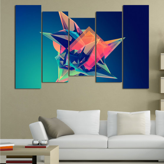 Canvas prints & wall decorative panels - 5 pieces №0778 » Pink, Purple, Blue, Turquoise, Black, Dark grey » Abstraction, 3d, Modern, Light, Color, Design, Shape, Glow, Decorative Form #4
