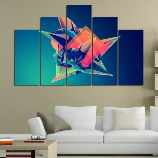 Canvas prints & wall decorative panels - 5 pieces №0778 » Pink, Purple, Blue, Turquoise, Black, Dark grey » Abstraction, 3d, Modern, Light, Color, Design, Shape, Glow, Decorative Form #5