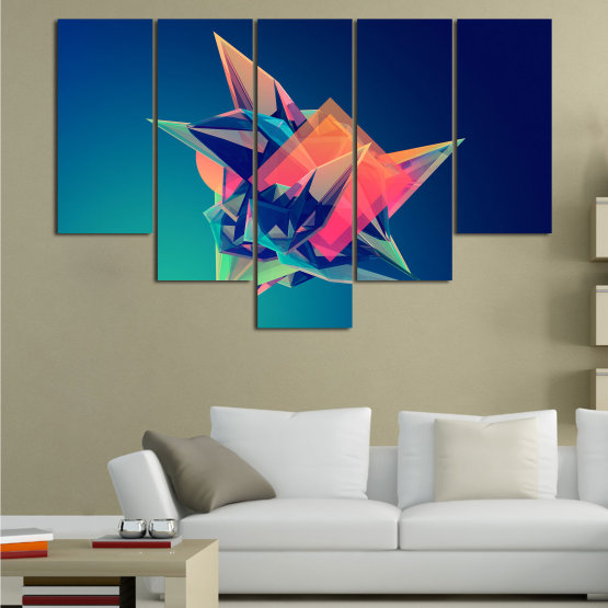 Canvas prints & wall decorative panels - 5 pieces №0778 » Pink, Purple, Blue, Turquoise, Black, Dark grey » Abstraction, 3d, Modern, Light, Color, Design, Shape, Glow, Decorative Form #6