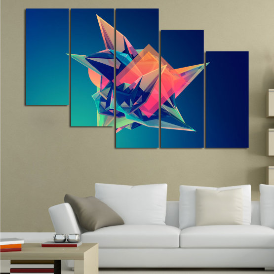Canvas prints & wall decorative panels - 5 pieces №0778 » Pink, Purple, Blue, Turquoise, Black, Dark grey » Abstraction, 3d, Modern, Light, Color, Design, Shape, Glow, Decorative Form #7