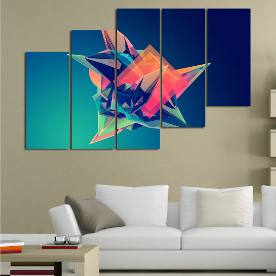 Canvas prints & wall decorative panels - 5 pieces №0778 » Pink, Purple, Blue, Turquoise, Black, Dark grey » Abstraction, 3d, Modern, Light, Color, Design, Shape, Glow, Decorative Form #8
