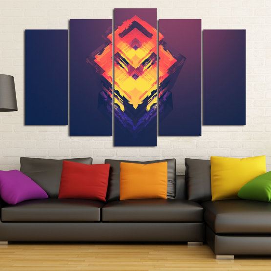 Canvas prints & wall decorative panels - 5 pieces №0779 » Pink, Purple, Yellow, Orange, Dark grey » Abstraction, 3d, Decoration, Art, Modern, Artwork, Graphic, Color, Design, Creative Form #1