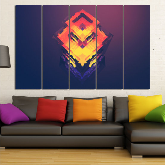 Canvas prints & wall decorative panels - 5 pieces №0779 » Pink, Purple, Yellow, Orange, Dark grey » Abstraction, 3d, Decoration, Art, Modern, Artwork, Graphic, Color, Design, Creative Form #2