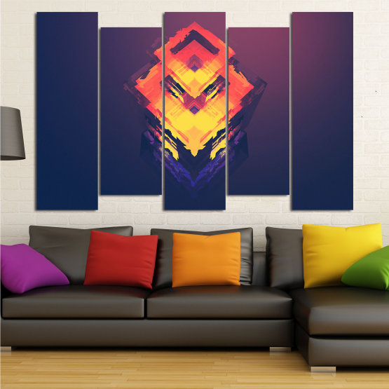 Canvas prints & wall decorative panels - 5 pieces №0779 » Pink, Purple, Yellow, Orange, Dark grey » Abstraction, 3d, Decoration, Art, Modern, Artwork, Graphic, Color, Design, Creative Form #3