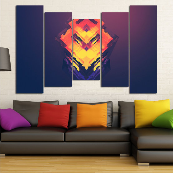Canvas prints & wall decorative panels - 5 pieces №0779 » Pink, Purple, Yellow, Orange, Dark grey » Abstraction, 3d, Decoration, Art, Modern, Artwork, Graphic, Color, Design, Creative Form #4