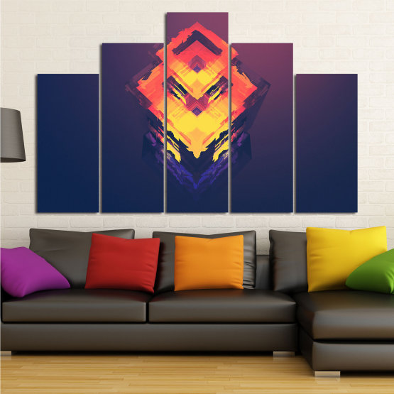 Canvas prints & wall decorative panels - 5 pieces №0779 » Pink, Purple, Yellow, Orange, Dark grey » Abstraction, 3d, Art, Decoration, Modern, Artwork, Graphic, Color, Design, Creative Form #5