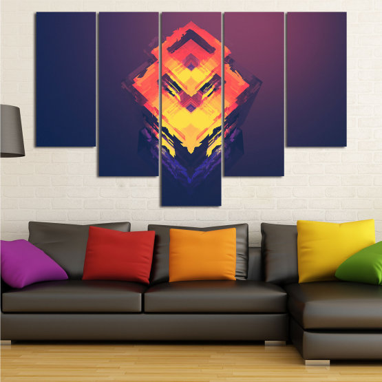 Canvas prints & wall decorative panels - 5 pieces №0779 » Pink, Purple, Yellow, Orange, Dark grey » Abstraction, 3d, Decoration, Art, Modern, Artwork, Graphic, Color, Design, Creative Form #6