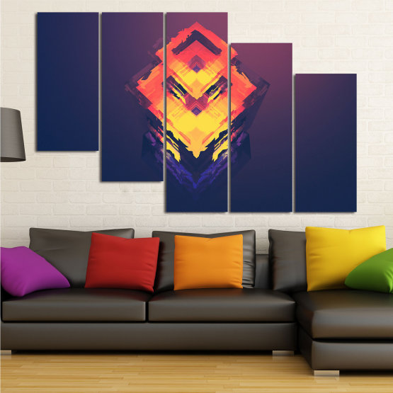 Canvas prints & wall decorative panels - 5 pieces №0779 » Pink, Purple, Yellow, Orange, Dark grey » Abstraction, 3d, Decoration, Art, Modern, Artwork, Graphic, Color, Design, Creative Form #7