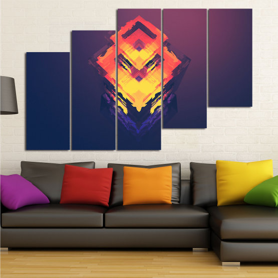 Canvas prints & wall decorative panels - 5 pieces №0779 » Pink, Purple, Yellow, Orange, Dark grey » Abstraction, 3d, Decoration, Art, Modern, Artwork, Graphic, Color, Design, Creative Form #8