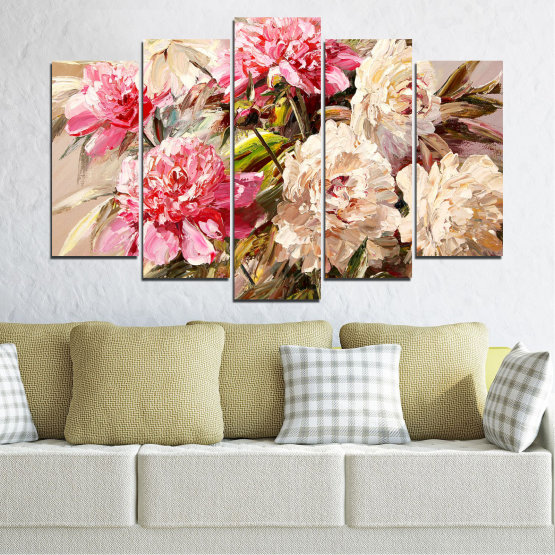 Canvas prints & wall decorative panels - 5 pieces №0781 » Pink, Brown, Gray, White, Beige, Milky pink » Flowers, Spring, Decoration, Bouquet, Blossom, Color, Pink, Vase Form #1