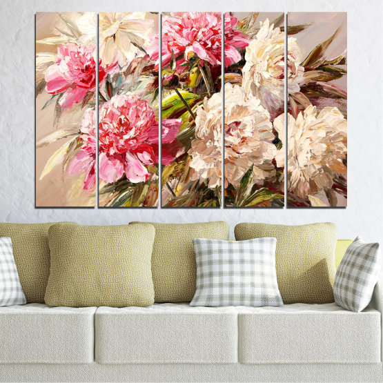 Canvas prints & wall decorative panels - 5 pieces №0781 » Pink, Brown, Gray, White, Beige, Milky pink » Flowers, Spring, Decoration, Bouquet, Blossom, Color, Pink, Vase Form #2