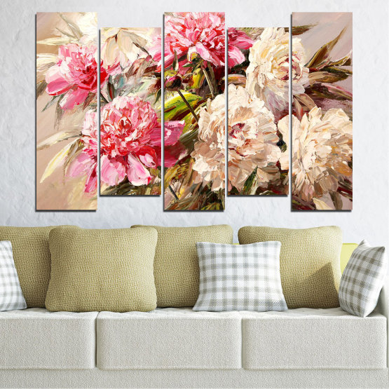 Canvas prints & wall decorative panels - 5 pieces №0781 » Pink, Brown, Gray, White, Beige, Milky pink » Flowers, Spring, Decoration, Bouquet, Blossom, Color, Pink, Vase Form #3