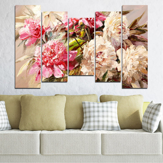 Canvas prints & wall decorative panels - 5 pieces №0781 » Pink, Brown, Gray, White, Beige, Milky pink » Flowers, Spring, Decoration, Bouquet, Blossom, Color, Pink, Vase Form #4