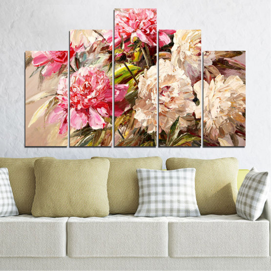 Canvas prints & wall decorative panels - 5 pieces №0781 » Pink, Brown, Gray, White, Beige, Milky pink » Flowers, Spring, Decoration, Bouquet, Blossom, Color, Pink, Vase Form #5