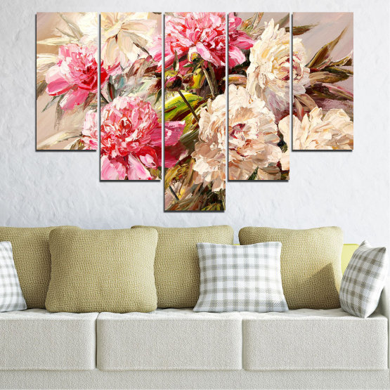 Canvas prints & wall decorative panels - 5 pieces №0781 » Pink, Brown, Gray, White, Beige, Milky pink » Flowers, Spring, Decoration, Bouquet, Blossom, Color, Pink, Vase Form #6