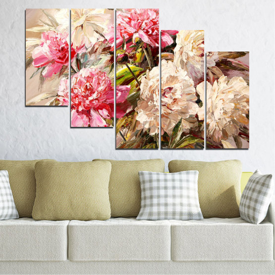 Canvas prints & wall decorative panels - 5 pieces №0781 » Pink, Brown, Gray, White, Beige, Milky pink » Flowers, Spring, Decoration, Bouquet, Blossom, Color, Pink, Vase Form #7