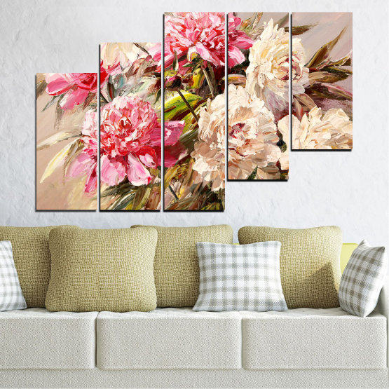 Canvas prints & wall decorative panels - 5 pieces №0781 » Pink, Brown, Gray, White, Beige, Milky pink » Flowers, Spring, Decoration, Bouquet, Blossom, Color, Pink, Vase Form #8