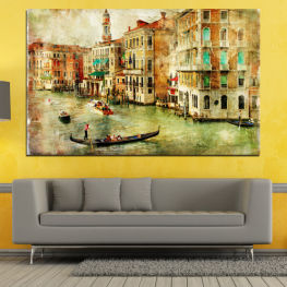 City, Venice, River, Architecture, Boat, Street, Houses » Green, Yellow, Orange, Brown, Gray, Beige