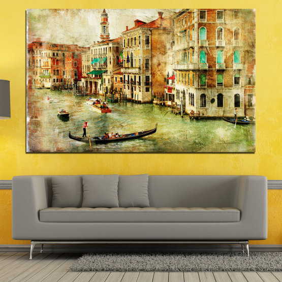 Canvas prints & wall decorative panels - 1 piece №0782 » Green, Yellow, Orange, Brown, Gray, Beige » City, Venice, River, Architecture, Boat, Street, Houses Form #1
