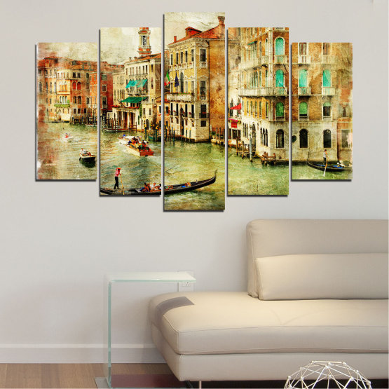 Canvas prints & wall decorative panels - 5 pieces №0782 » Green, Yellow, Orange, Brown, Gray, Beige » City, Venice, River, Architecture, Boat, Street, Houses Form #1