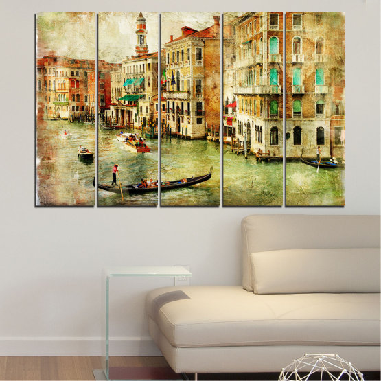 Canvas prints & wall decorative panels - 5 pieces №0782 » Green, Yellow, Orange, Brown, Gray, Beige » City, Venice, River, Architecture, Boat, Street, Houses Form #2