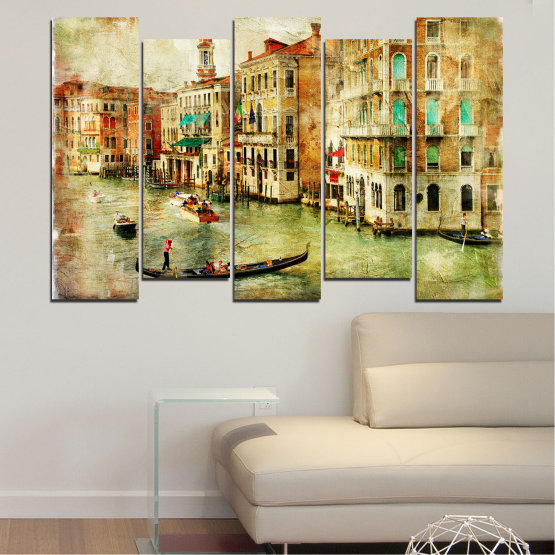 Canvas prints & wall decorative panels - 5 pieces №0782 » Green, Yellow, Orange, Brown, Gray, Beige » City, Venice, River, Architecture, Boat, Street, Houses Form #3